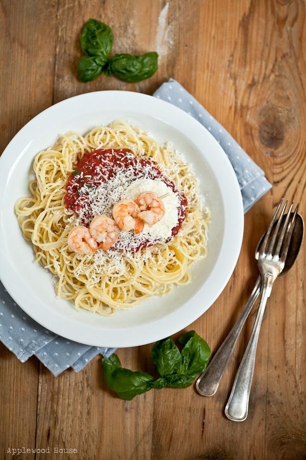 Spaghetti mit Riesengarnelen Rezept Applewood House